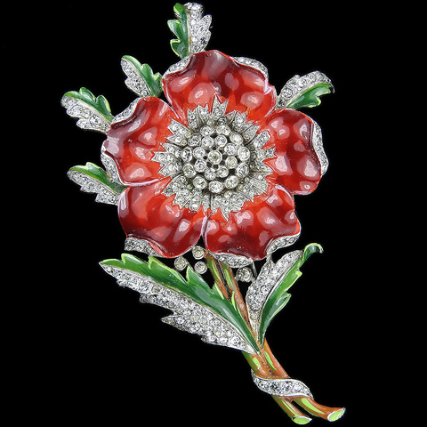 Trifari 'Alfred Philippe' Pave and Enamel Poppy with Spray of Leaves Pin Clip