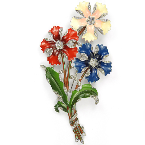 Trifari 'Alfred Philippe' Red White and Blue Three Flower Giant Floral Spray Pin Clip
