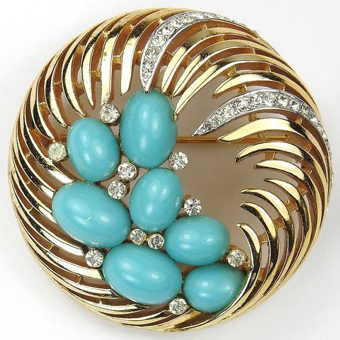 Trifari Gold and Pave Swirl with Turquoise Cabochons Pin