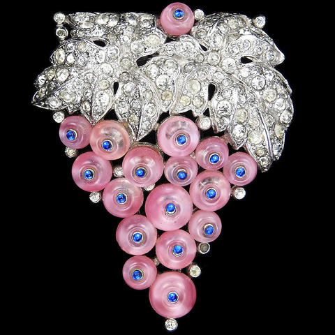 Trifari 'Alfred Philippe' Pave Leaves Pink Moonstone and Sapphire Cabochon Grapes on a Vine Pin Clip