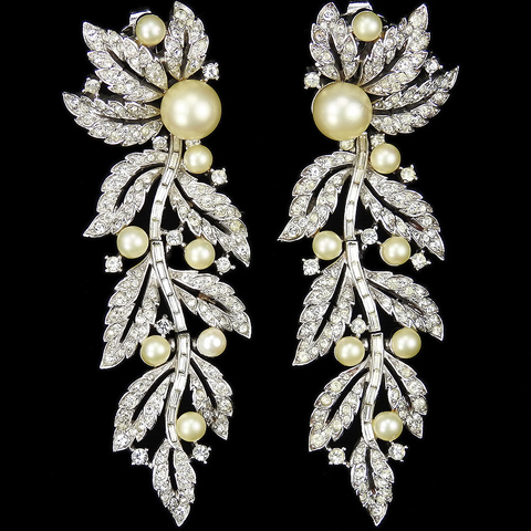 Trifari 'Alfred Philippe' Pave Leaves and Pearl Grapes 'Falling Vine' Pendant Clip Earrings