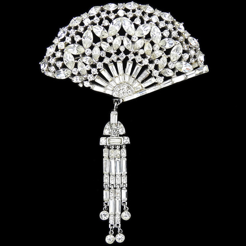 Trifari 'Alfred Philippe' Pave Navettes and and Baguettes Fan with Pendant Lantern Pin