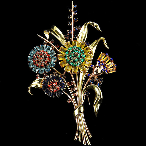 Trifari 'Alfred Philippe' Yellow and Rose Gold and Multicolour Bouquet of Six Flowers and Leaves Giant Floral Spray Pin Clip